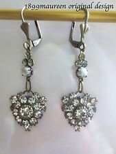 Claro Cristal Perla delicada Eduardiano pendientes de gota Art Nouveau Art Deco Vintage