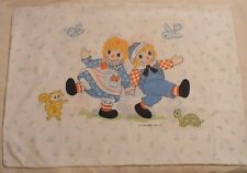 Vtg-Raggedy-Ann & Andy Pillowcase-Bobbs-Merrill-Birds-Flower-Frog-Turtle-Cat