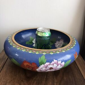 12 Inches Large  Vintage Chinese Cloisonne Blue Floral Brush Wash Bowl