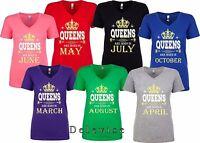 Queens Are Born In Custom Birthday Month Halloween Christmas Women VNeck T-Shirt