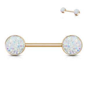 Druzy Stone Ends Nipple Bar With Rose Gold PVD Over 316L Surgical Steel Barbell