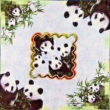 """100% Silk Scarf Panda 20"""" X 20"""" Thick Square Bandanna Neckerchief"""