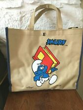 A Lovely Vintage 'Smurf' Collectable Canvas Book Bag, Peyer  S.E.F.F