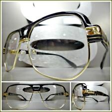 Men CLASSIC RETRO HIP HOP RAPPER Style Clear Lens EYE GLASSES Black & Gold Frame