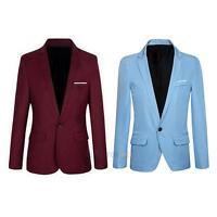 Men Luxury One Button Slim Fit Casual Business Suit Dress Blazer Coat Jacket Top