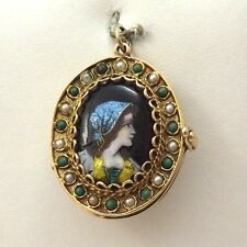 Pearl 4 Photo Locket Charm Pendant Art Nouveau French Glass Portrait 14K Gold