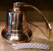 """Authentic Models Ac073 6"""" Solid Brass Handmade Ship's Bell + Bracket + Handrope"""