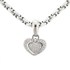 Chimento 18k White Gold Pave Diamond Heart Necklace