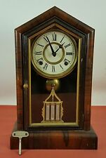 TABLE CLOCK IN WOOD. ELISHA WELCH MARK. USA. XIX CENTURY.