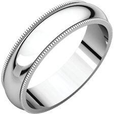 5mm 18K Solid White Gold Milgrain Half Round Comfort Fit Wedding Band Size 8