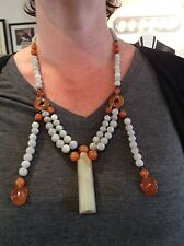 FANTASTIC, PERFECT, ANTIQUE CHINESE COURT NECKLACE! CARNELIAN & JADE! NR!