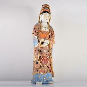 MEIJI Era BUDDHA Guanyin Statue 29.3inch KUTANI Ware Japanese Porcelain Figurine