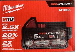 Batterie MILWAUKEE M18 B5 REDLITHIUM Li-Ion 5.0 Ah 4932430483