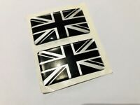 2 x UNION JACK BLACK SILVER GB CAR BADGE JAGUAR RACING SELF ADHESIVE 50x30mm