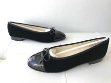 $795 CHANEL CLASSIC BLACK VELVET AND PATENT LEATHER CAPTOE BALLET FLATS 39.5