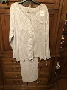 Croft Barrow coffee wine nightshirt womens 4X nightgown gray vneck new sleep K1