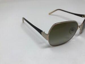 Authentic Anne Klein Sunglasses AK 4130 353/64 Brown Gold Hexagon KN83