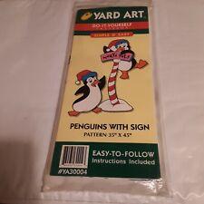 """Penguins with Sign"" ©1998 Yard Art Woodcraft Pattern #Ya30004 36""x47"" Sealed"