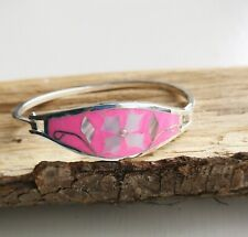 Pink Colour,Flower Design Hinge Clasp Abalone Shell, Silver Plated Bracelet Neon
