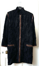 Ladies  Vintage Black Persian Lamb Fur Coat Trimmed with Leather Size 10