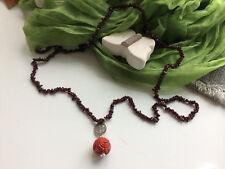 Halskette aus Granat-Perlen Korallen-Anhänger Silber Shou-Symbol Langlebigkeit
