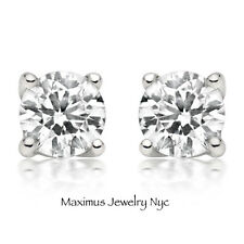 0.10Ct E/VS2 Round Brilliant Cut Diamond Push Back Stud Earrings 14K White Gold