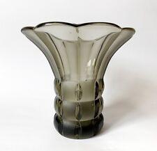 Fabulous Antique 1930s Art Deco Smoke Glass Vase by Libochovice, Czechoslovakia