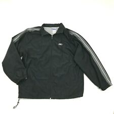 REEBOK Men's Black Jacket Size L Large Warm Up Soft Shell Athletic VECTOR Logo
