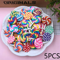 DIY Cabochon Crafts Simulation Candy Miniature Rainbow Lollipop Clay Handicraft
