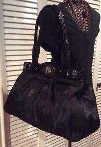 Coach Lurex Signature Large Black Sateen Handbag Purse FREE SHIPPING
