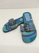 WOMENS CLARKS BLUE LARGE BUCKLE SLIP ON FLAT SANDALS SHOES UK 5