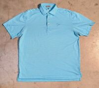 Peter Millar Men's Large Summer Comfort Blue Striped Short Sleeve Polo Shirt