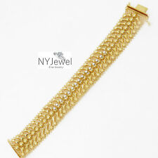 NYJEWEL Italy Designer 18K Yellow Gold 1ct Diamond Wedding Bracelet