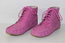 FREE SHIPPING Forever Womens Sz 8.5 Pink Lace Up Flats Fashion Ankle Boots Shoes