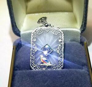 Antique Art Deco 14k Gold Camphor Glass Diamond Necklace Pendant