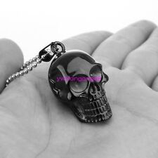 Stainless Steel Black Skull Pendant Necklace Cool Punk Gothic Mens Jewelry Chain