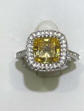 Platinum Sterling Silver Yellow White Sapphire Cushion Halo Engagement Ring Sz7