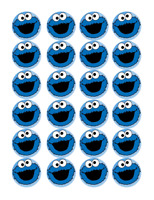 24 x Large Cookie Monster Edible Cupcake Toppers Birthday Party Cake Decoration