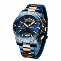 Mens Business Wrist Watch Casual Gold Blue Tone Steel Band Quartz Analog Wathces
