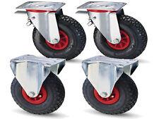 1 Satz Luftrollen ø260mm 2 Lenkrollen mit Feststeller und 2 Bockrollen Luftrad