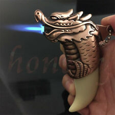 Refillable Jet Flame Butane Torch Windproof Dragon Tiger Style Cigarette Lighter