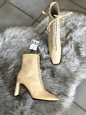Zara Cream Leather Lace Up High Heel Ankle Boots UK7 EU40 US9 # 712