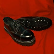Demonia Black Leather Steel Toe Riot Classic Shoes Size 11