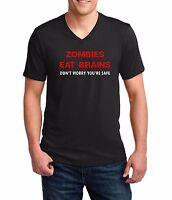 Men's V-neck Zombies Eat Brains Shirt Funny Humor Tee Rude Halloween Party Gift