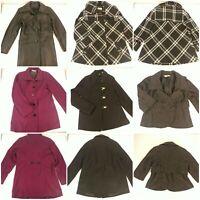 Lot 5 Women's Small Coats Jackets Peacoat Leather Trench Coat Warm Winter Fall