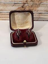 Antike Jugendstil Ohrringe Silber 800, besetzt mit Granat Steinen, um 1910
