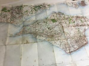 1909 Map Isle of Wight Portsmoth Ventnor Lymington Cowes Newport antique map