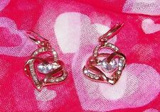 STUNNING ROSE GOLD AND CRYSTAL DOUBLE HEART EARRINGS - 1-1/2 INCHES
