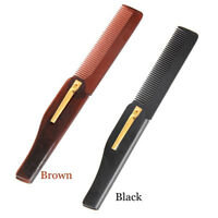 Stylish Mens Womens Handmade Folding Pocket Clip Hair Moustache Beard Comb
