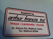 VESPA Lambretta Arthur Francis Dealer Sticker AF,TV,GP,LI,SX, AF,TS1 SX200 white